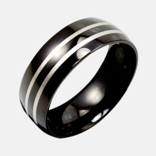 Stainless Steel Ring w/ Black Bands & Laser Design