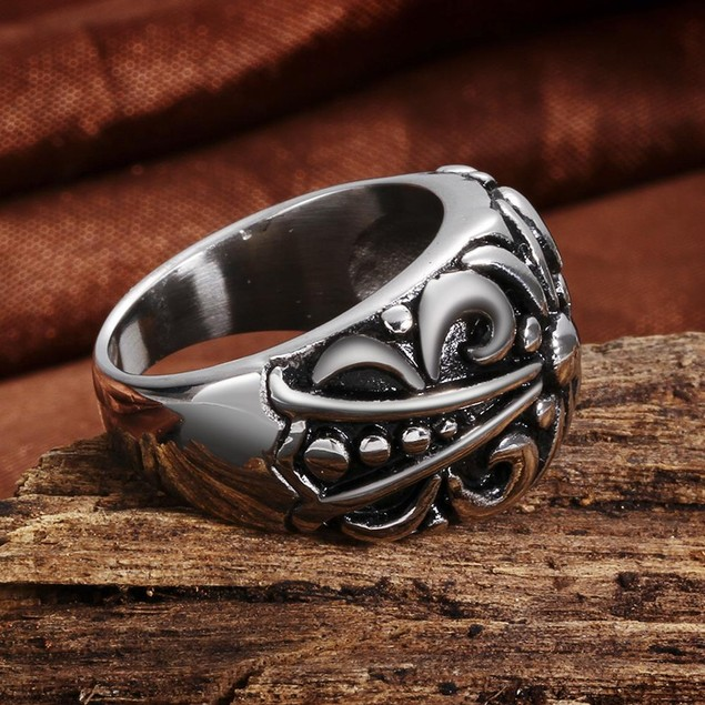 Abstract Design Ingrained Stainless Steel Ring
