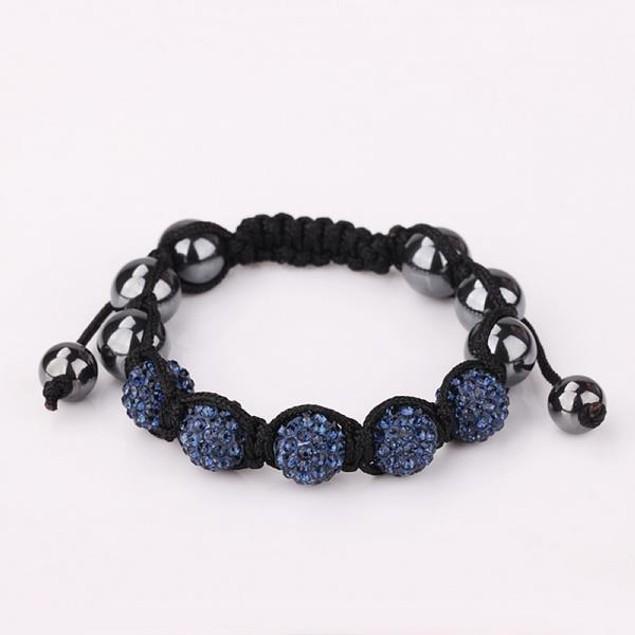 80's Glam Five Beads Austrian Crystal Bracelet -Dark Sapphire