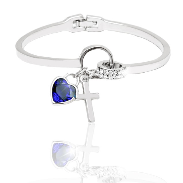 Silver and Jet Crystal Elements Heart and Cross Charm Cuff