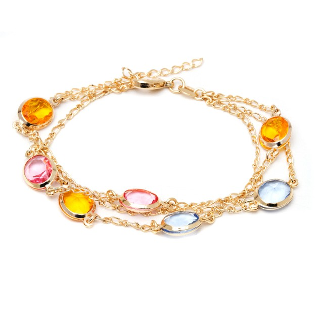 18K Gold and Multi Color Crystal Bracelet