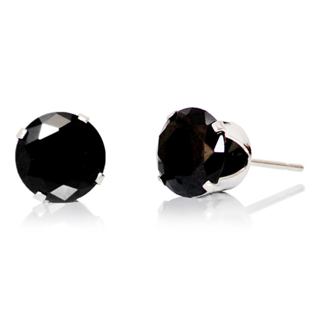 2 Carat 8mm Sterling Silver Round Stud Earrings