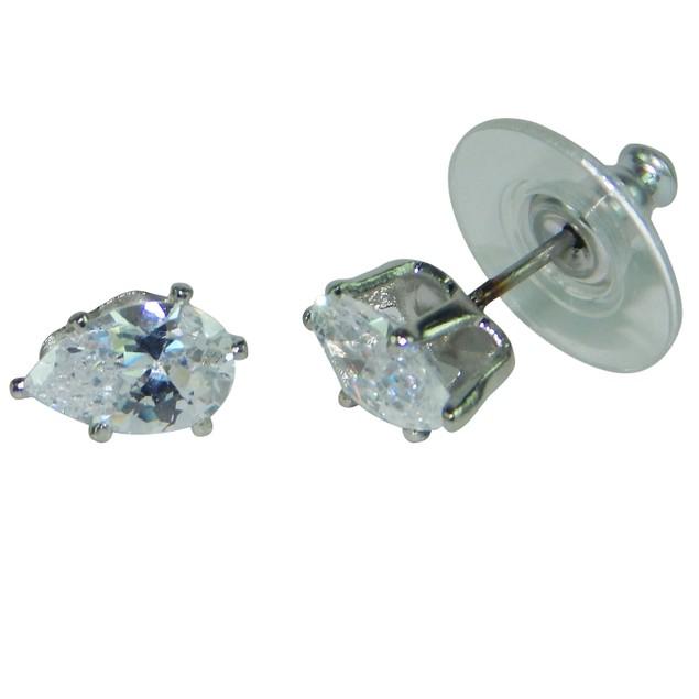 .925 Sterling Silver Pear Cubic Zirconia Stud Earrings