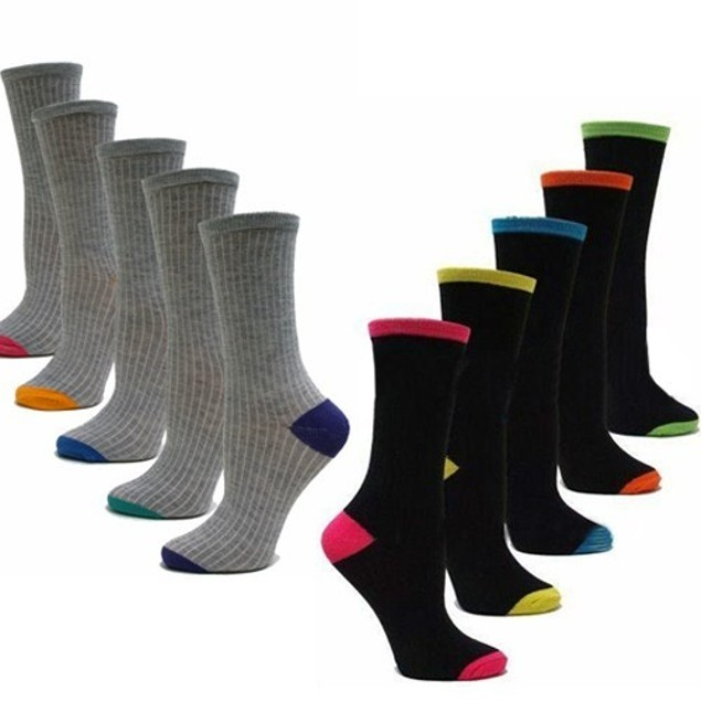 Chatties 5 Pair Women's Heel Crew Socks - In Grey Or Black Color Size 9-11