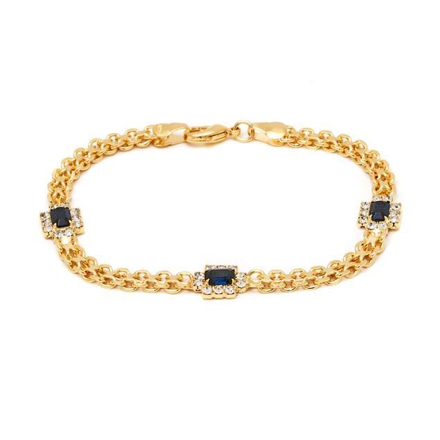 18k Gold Gap Sspphire Crystal Bracelet