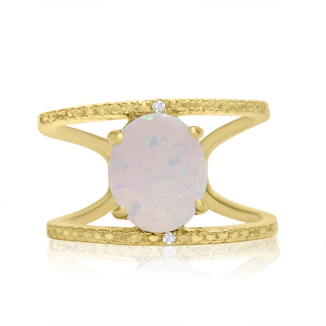 Opal and Diamond Open Shank Ring