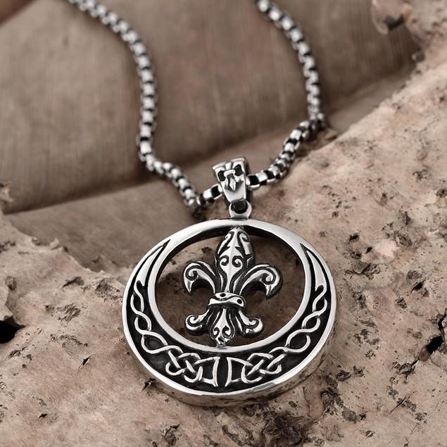 Alpha Steel Circular Saint Emblem Necklace