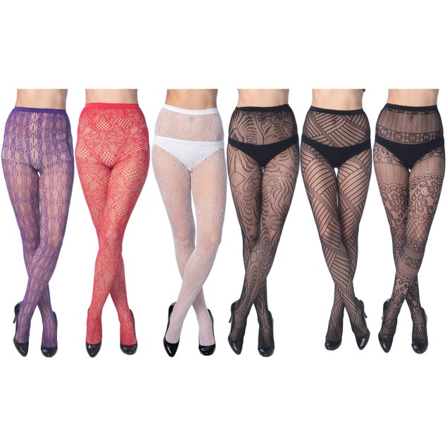 6-Pack: Women's Assorted Color Fishnet Tights In Regular and Plus Sizes
