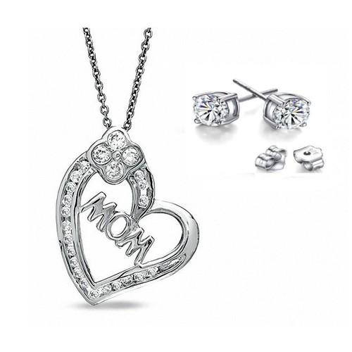 0.925 Sterling Silver Cubic Zirconia Heart Shape MOM Pendant W/ 5mm Stud Earrings Set