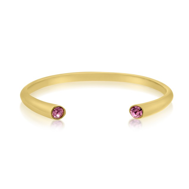 Gold Tone & Pink Crystal Cuff Bracelet