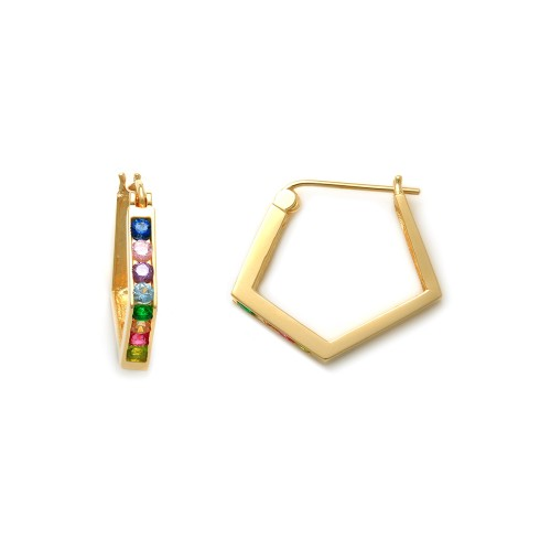 10K Solid Yellow Gold Multi Colored Rainbow Huggie Earrings