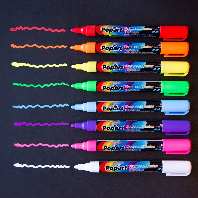 4.5mm Small Tip Fluorescent Chalk Markers - Set of 8