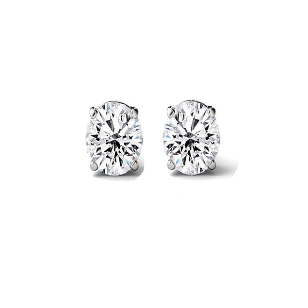 2.00 CTTW Sterling Silver Genuine Oval White Topaz Stud Earrings