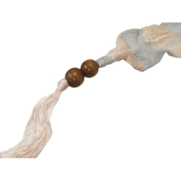 Peach And Metallic Silver Skinny Knit Scarf Sash Womens Fashion Scarves