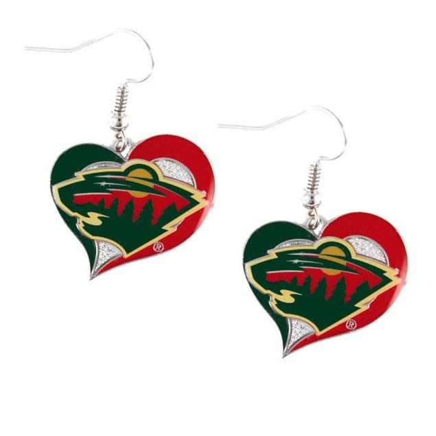 NHL Swirl Heart Earring Dangle Logo Charm Gift