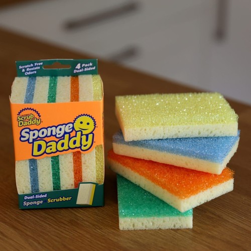 Scrub Daddy Sponge Daddy - Dual Sided Sponge & Scrubber, Soft in Warm Water, Firm in Cold, Dishwasher Safe, Scratch Free, Odor Resistant