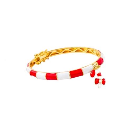 18KGP Red & White C.K Enameled Bangle W/ Dangling Candy Kane Children's Bracelets