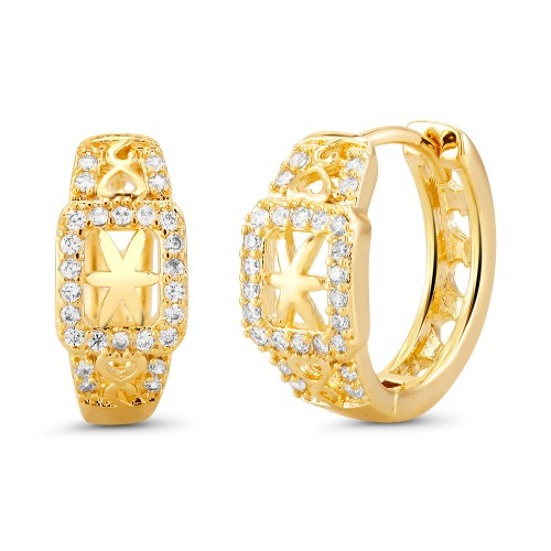 18kt Yellow Star Goldtone Cubic zirconia  Huggie Earrings