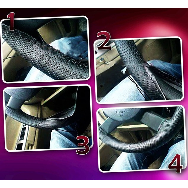 Zone Tech DIY Black Leather Car Steering Wheel Cover Stitch Sew On