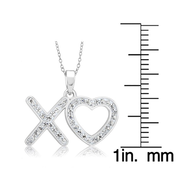 White Gold Plated Crystal XOXO Necklace