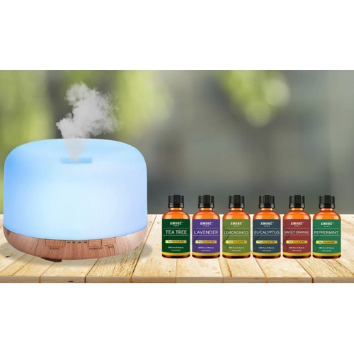 5 in 1 Ultrasonic Aromatherapy Diffuser w/ Essential Oil Set (7-Piece)