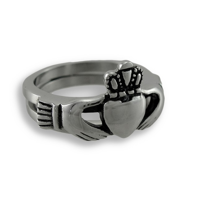 Stainless Steel Hinged Double-Band Claddagh Ring Rings