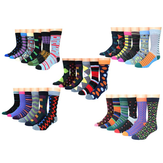 12 Pairs Men's Premium Cotton-Blend Colorful Patterned Dress Socks