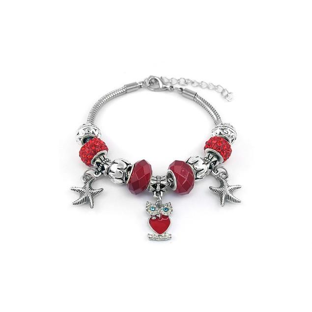 Silvertone Owl Charm Bracelet - 5 Colors