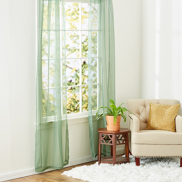 Ruthy's Textile 2-Piece Sheer Rod Pocket Window Panel Pair