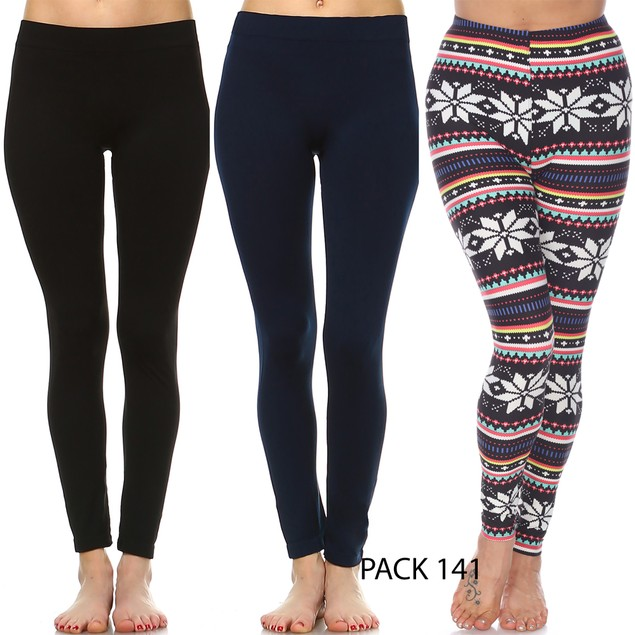 3-Pack: Super Soft Holiday Leggings - 18 Prints (S-3X)