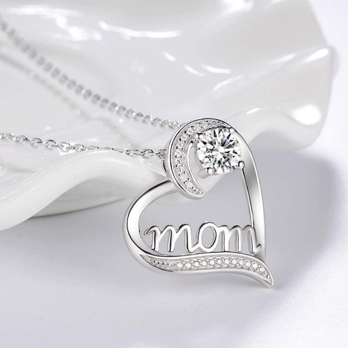 18kt White Gold Cubic Zirconia Mom Heart Necklace