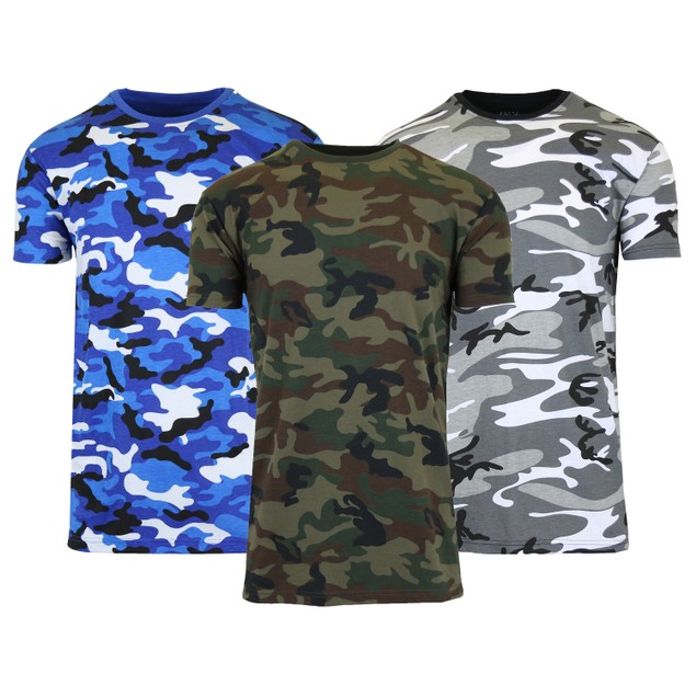Men's Short Sleeve Crew Neck Camo Printed Tee (S-2XL)