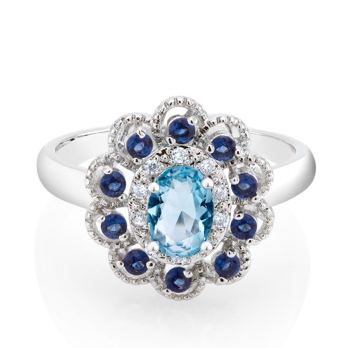 18kt White Gold Cubic Zirconia Sapphire Ring