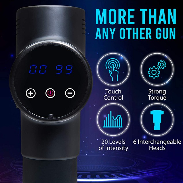 Handheld Deep Tissue Percussion Massager Gun w/ 6 Attachments 20-Speed LCD