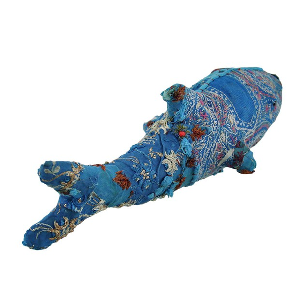 Blue Vintage Sari Fabric Covered Paper Mache Shark Statues