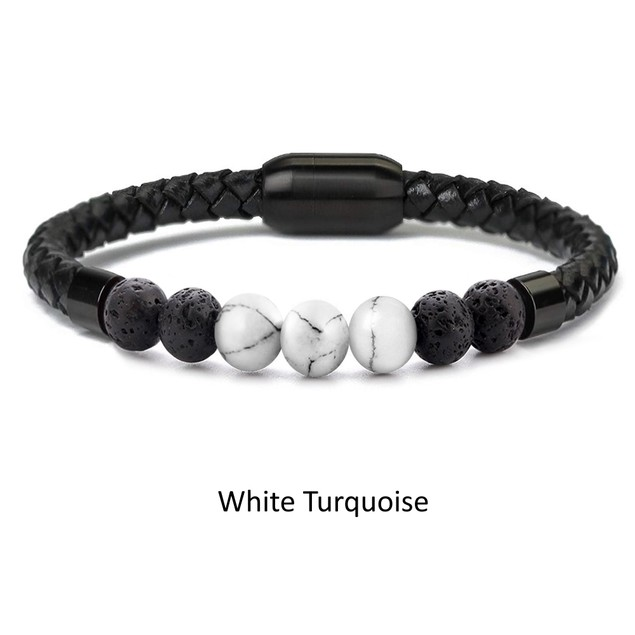 Chakra Lava Stone & Leather Bracelet with Magnetic Clasp
