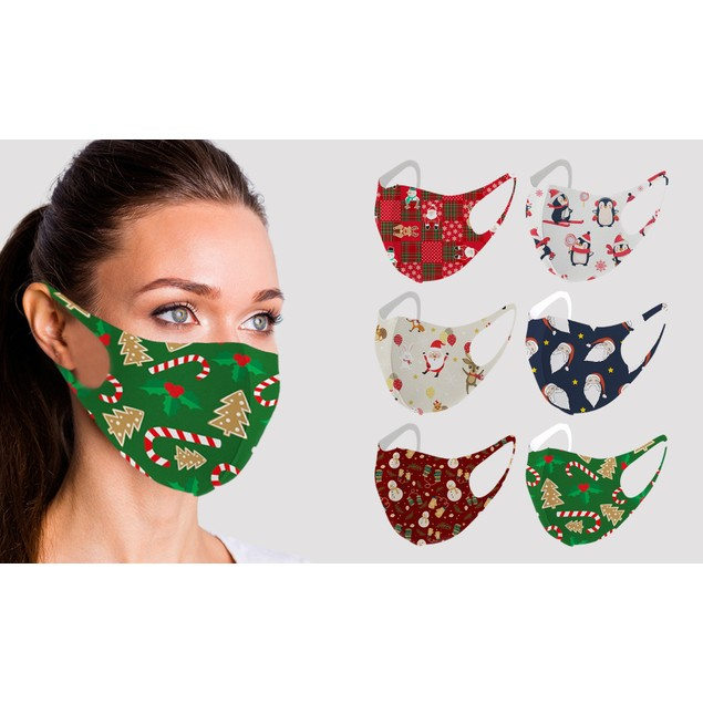 6-Pack Fun Designed Holiday Themed Reusable Face Masks