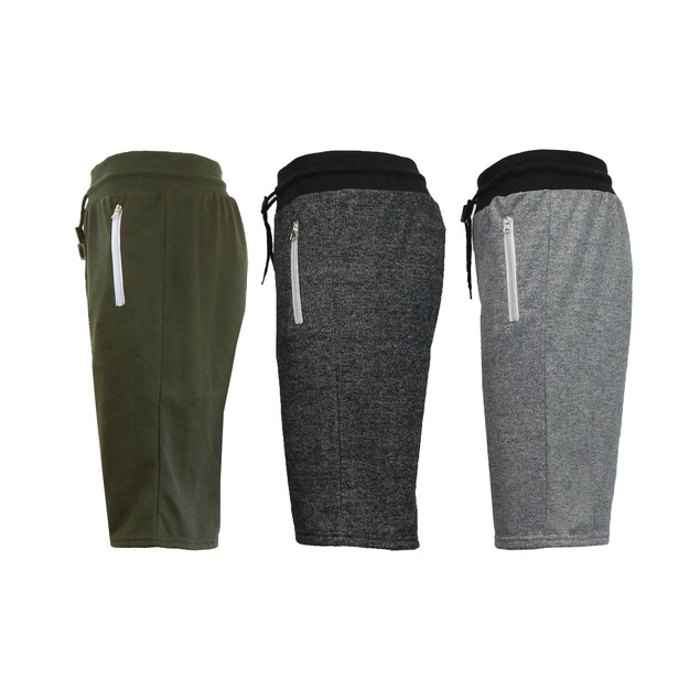 3-Pack Men's Marled or Solid French Terry Shorts with Zipper Pockets