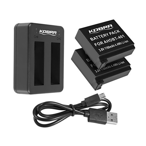 Kobra GoPro Dual Battery Charger with Two Batteries for HERO 3/3+/4