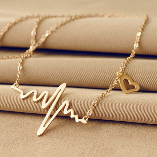 Heartbeat Gold Drop Necklace