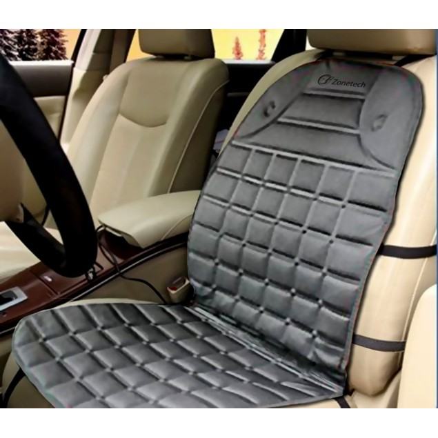 Zone Tech Gray Heated Seat Cover Cushion Hot Warmer 12V Heating Pad Driving