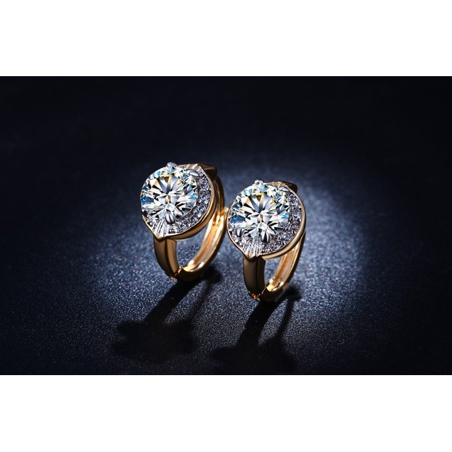 Vintage Style Gold Tone Cubic Zirconia Huggie Earrings
