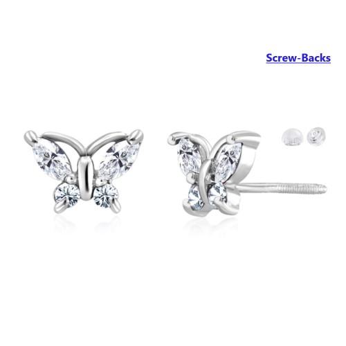 0.925 Sterling Silver Cubic Zirconia Butterfly Shape Screw-Backs Post Earrings