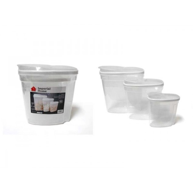 3 Pack Plastic Snack/Cereal Dispenser Storage Container Set - White
