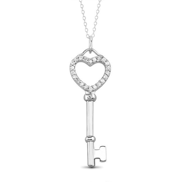 Sterling Silver & CZ Heart Key Necklace