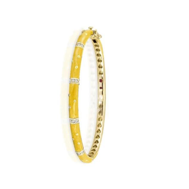 18KGP Yellow Enameled Bangle W/ Cubic Zirconia Children's Bangle Bracelets.