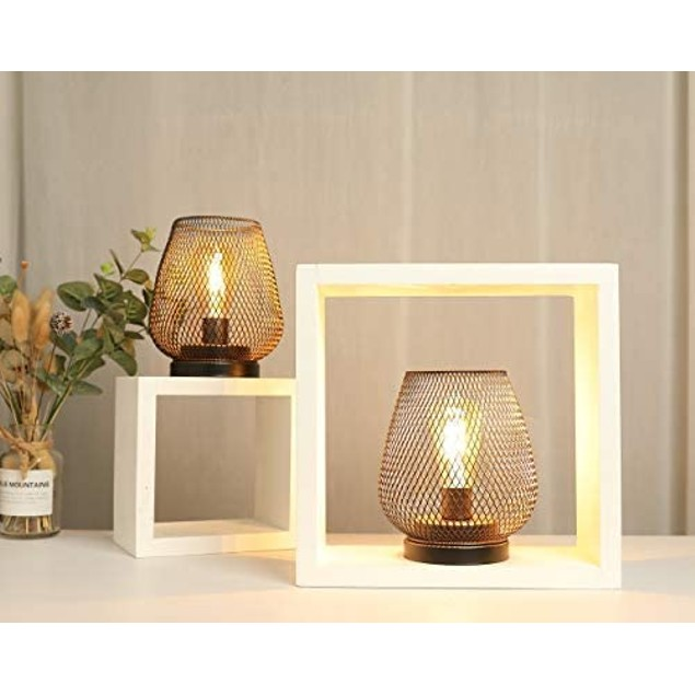 2-Pack Metal Cage LED Lantern Battery Powered Cordless Accent Light with LED