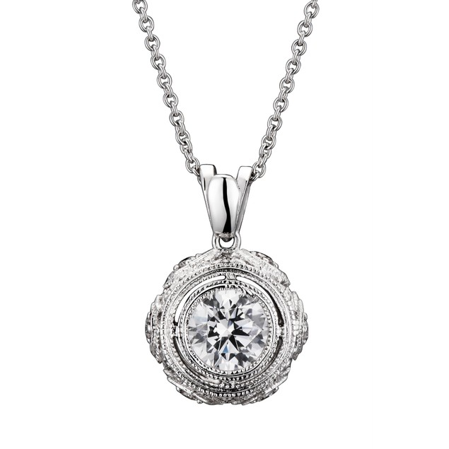 C.Z. Sterling Silver Round Stud Pendant