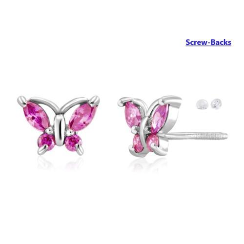0.925 Sterling Silver Pink Butterfly Shape Cubic Zirconia Screw-Backs Post Earrings