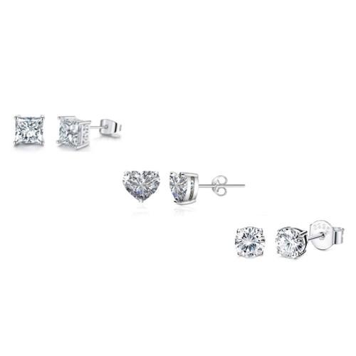 0.925 Sterling Silver 3Pack Stud Set- 4MM Princess-Cut, 5MM Round & 5MM Heart Shape Cubic Zirconia Earrings Set